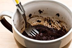 Mug Brownie- I find half a recipe to be plenty.  It would probably be better if I'd never learned about this...