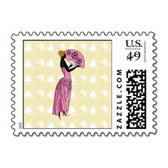 ANJANETTE: Art Deco Fashion in Pink and Yellow Postage