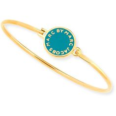 MARC by Marc Jacobs Skinny Bracelet with Logo Disc ($52) ❤ liked on Polyvore featuring jewelry, bracelets, green, green bangles, disc jewelry, green jewelry, retro jewelry and logo jewelry