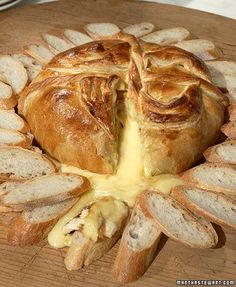 Baked brie with brown sugar and chopped pecans wrapped in puff pastry.  Serve with toasted baguettes or crackers.  Made this for a group of friends to rave reviews.  Recommended!