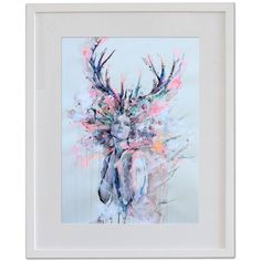 Deer Woman hand colored art print Printmaking by Lykke Steenbach... ($675) ❤ liked on Polyvore featuring home, home decor, wall art, deer home decor, deer wall art, woman painting, women paintings and paper wall art