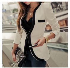 Love this blazer with the neckline of the shirt..