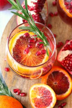 Champagne Cocktail is made with sweet blood orange slices, pomegranate ...