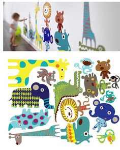 Jiving Jungle Animal Pals Fabric Wall Decals - Wall Sticker Outlet