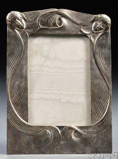 Art Nouveau frame in the style of Gustav Gurschner, silver on bronze, easel back, in. Vintage Picture Frames, Art Nouveau Architecture, Aesthetic Movement, Art Nouveau Design, Metal Artwork, Frame Crafts, Mirror Ideas, Pewter, Antique Silver