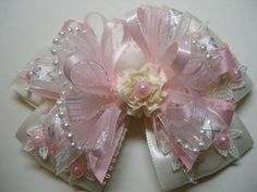 Ivory and Pink Glitz Hair Bow Large Boutique Toddler Girl Wedding Pageant Flower Girl Easter Flower Hair Bows, Girl Hair Bows, Girls Bows, American Girl Hairstyles, Lingerie Fine, Boutique Hair Bows, Lace Hair, Making Hair Bows, Ribbon Bows