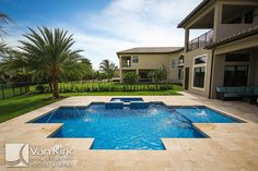 Roman Geometric 5   This Pool Features A Completely Level Spa And Pool  Accented With Deck