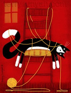 "exhausted black & white kitty all tangled up in yarn, ""enough"" by terry runyan"