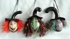 Mini Witch Halloween Gourd Ornament Set of 3 - Hand Painted Gourds