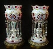 "Pair of 14.5"" Vintage Bohemian Moser Cut Glass Mantle Lusters Lustres Electrified Candle"