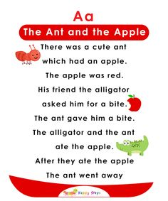 The Ant and the Apple - Alphabet Stories for kids - Letter A