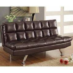 Check out the Coaster Furniture 300122 Sofa Bed in Dark Tri-Tone Brown Vinyl priced at $449.58 at Homeclick.com. #coasterfurniturebrown #coasterfurniturecouch