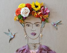 """Frida no jardim II"" Cara Flor Imprimir"