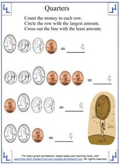 Learn how to identify quarters (front and back) and make change with these counting money worksheets. Find coin games, activities and more money worksheets. Counting Money Worksheets, Reading Worksheets, Coin Values, Free Math, Hairstyles, Learning, Blue Prints, Haircuts, Hairdos
