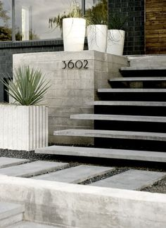 front steps, stairs, landscape architecture, exterior, front entry, house numbers, design, front porches, concrete planters