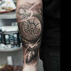 Realistic Compass And Rope Tattoo On Arm Sleeve