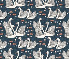 Geometric Swans - Parisian Blue/Champagne by Andrea Lauren fabric by andrea_lauren on Spoonflower - custom fabric