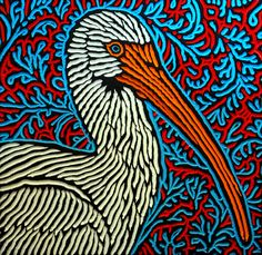 xilogravuras de aves selvagens na Lisa Brawn são tão detalhadas e realistas e…