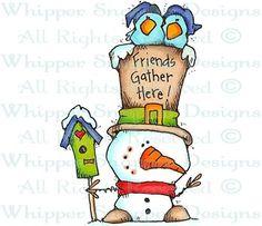 Gather Here Snowman - Snowmen Images - Snowmen - Rubber Stamps - Shop