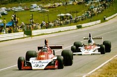 Ian Scheckter, Tyrrell-Ford and Dave Charlton, McLaren-Ford at the 1975 South African GP Jody Scheckter, One Championship, Formula 1 Car, F1 Drivers, F1 Racing, Indy Cars, First Car, Fun To Be One, Grand Prix