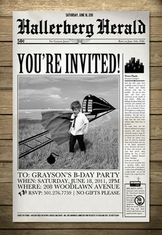 Superhero Birthday Invitation - Newspaper Theme - Printable/DIY. $32.00, via Etsy.