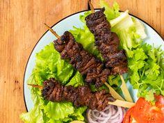 Nigerian Beef Suya (Spiced Grilled Skewers) Recipe | Serious Eats Skewer Recipes, Beef Recipes, Beef Meals, Beef Flank, Beef Steak, Peanut Powder, Look And Cook, Grilled Skewers, Serious Eats