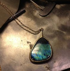 One of a kind labradorite butterfly wing pendant. Butterfly Wings, Labradorite, Antique Jewelry, Turquoise Necklace, Artisan, Pendant Necklace, Pearls, Designers, Jewelry Designer