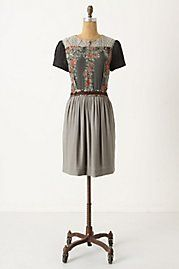 Love this Anthropologie dress with floral bodice and sweater-knit details.