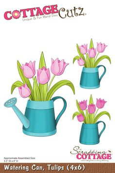 CottageCutz Watering Can, Tulips (4x6)