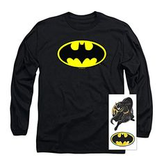 Batman Classic Logo Long Sleeve T Shirt & Stickers Tee Shirt Designs, Branded T Shirts, Hoodies, Sweatshirts, Graphic Tees, Long Sleeve Tees, Tee Shirts, Batman Birthday, Stickers