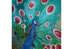 """Peacock Splendor 48"""" sq acrylic on canvas"""