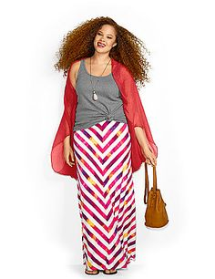 In a soft, stretchy knit for comfort wherever the season takes you, this colorful maxi skirt re-imagines chevron in painted stripes. Pull-on style with an elastic waist. lanebryant.com