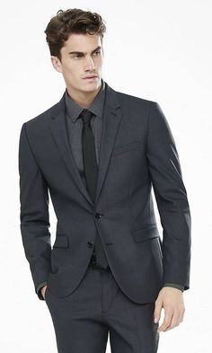 Express Mens Suits Dark Gray End On End Innovator Suit Jacket Gray Grey Suit Black Shirt, Gray Shirt Outfit, Charcoal Gray Suit, Dark Gray Suit, Grey Suit Men, Gray Jacket, Suit Jacket, Man Suit, Grad Suits