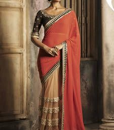 Buy Orange embroidered chiffon saree With Blouse party-wear-saree online
