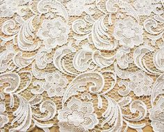 white lace fabric embroidered flowers florals wedding by PKiss- Etsy