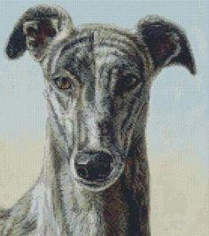 cross stitch kit greyhound dog challenger - Folksy