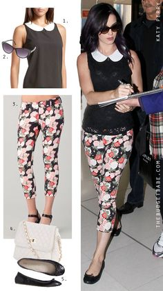 Printed pants: Katy Perrys Peter Pan Collar Top and Floral Pants