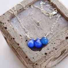 Minimalist Blue Agate Necklace - Blue Gemstone Necklace - Simple Sterling Silver Necklace - Bridal Necklace by PETALTOMETALJEWELS on Etsy