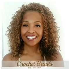 Crochet Braids with a mix of Freetress Deep Twist & Presto Curl in colors 4/30 (on the bottom) and 27 & 30 on the top. Each pack cut in half prior to ...