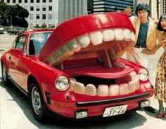 Don't stand too close, this car might take a bite out of you. dentistidentisty.com