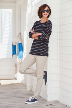 Striped Lace Trim Top - Featuring a stylish stripe design and lace detail to the hem and cuffs, this top makes the perfect style for completing a casual outfit. In a relaxed fit, great for teaming with our boyfriend jean.