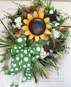 Summer or Fall Sunflower Burlap Mesh Wreath by WilliamsFloral on Etsy https://www.etsy.com/listing/238328821/summer-or-fall-sunflower-burlap-mesh
