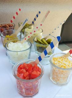 Cheap and Easy DIY Softball Party Decorations for an end of the year pool party along with other budget friendly party ideas. Baseball Food, Baseball Party, Softball Party Decorations, Hot Dog Bar, Party Food And Drinks, Easy Diy, Simple Diy, Party Planning, Party Time