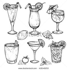 Find Sketch Cocktails Alcohol Drinks Set Hand stock images in HD and millions of other royalty-free stock photos, illustrations and vectors in the Shutterstock collection. Mojito, Margarita Tequila, Decoration Cocktail, Cocktails Drawing, Cocktail Illustration, Hand Illustration, Food Sketch, Fruit Sketch, Food Drawing