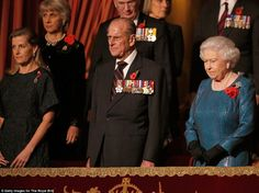 11/8/14. Royal box: Sophie, Countess of Wessex, laft, Prince Philip, Duke of Edinburgh and the Queen at Saturday night's performance