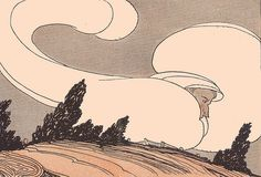 """The Wind. Illustration from """"Happy Hour Stories"""" by M. Genevieve Silvester and Edith Marshall Peter. American Book Co. copyrighted in 1921. Many illustrations signed Gregory, and a few signed DLG."""