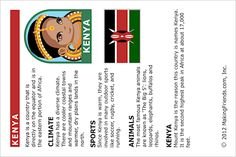 MakingFriends Facts about Kenya Printable Thinking Day fact card for our passports. Perfect if you chose Kenya for your Girl Scout Thinking Day or International Night celebration. Girl Scout Swap, Girl Scout Leader, Girl Scout Troop, Facts About Kenya, Gs World, Girl Scout Activities, World Thinking Day, Boys And Girls Club, Daisy