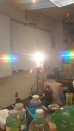 This is what you see when you look through 3D glasses and look at a real white light. It is a real color spectrum rather than a definite line of color which is show in the other picture about white light.