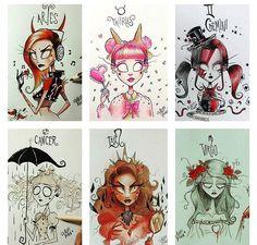 Zodiac Art – Aries through Virgo Zodiac Art – Aries through Virgo Arte Tim Burton, Signes Zodiac, Signo Virgo, Zodiac Characters, Zodiac Sign Fashion, Zodiac Horoscope, Cancer Zodiac Art, Virgo Art, Gemini