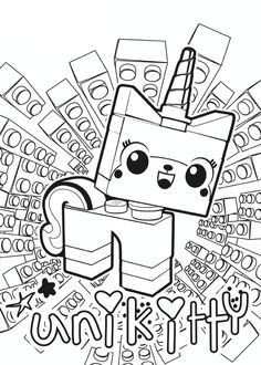 Superb Nascar Coloring Pages 47 The Lego Movie Unikitty